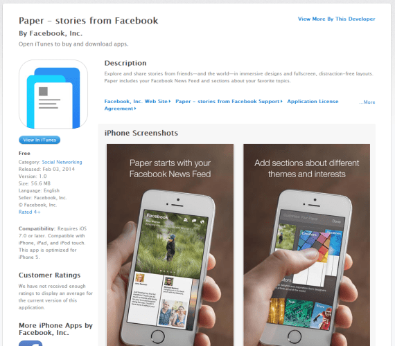 Facebook Paper on iTunes